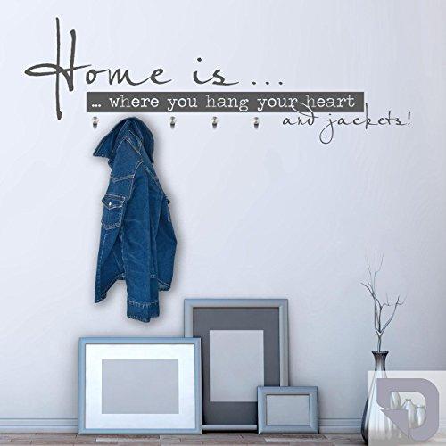 DESIGNSCAPE® Garderobe Home is ... Wandtattoo Garderobe Flur inkl. Haken 120 x 40 cm (Breite x Höhe) silber inkl. 5 Edelstahl Wandhaken DW811023-M-F25