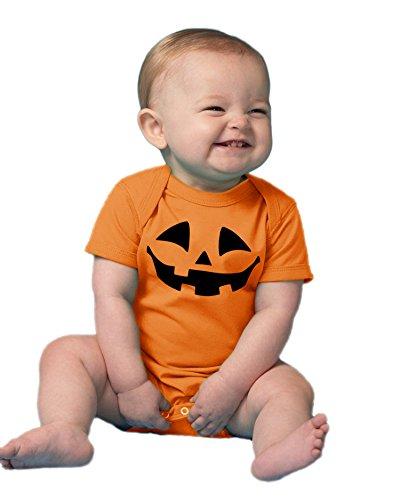 Cute Little Pumpkin | Infant, Baby Halloween Jack O' Lantern One Piece Outfit-(Onesie, 24M) Orange