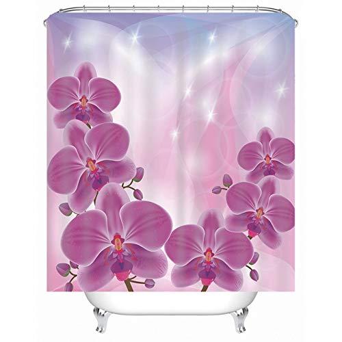 Aartoil Stoff Duschvorhang, Polyester Fuchsie Blume Duschvorhang für Badezimmer Fuchsie Rosa 60x72 Zoll / 150 x 180 cm DuschvorhangUmweltfre&lich, Waschbarer, Anti-Schimmel