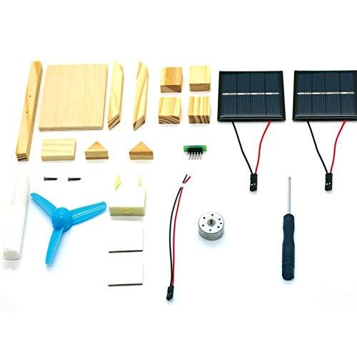 DIY Solar Fan Modell Montieren Bausätze Wissenschaftliches Experiment Kreative Entdeckung Lernspielzeug für Kinder-Holz Farbe-1 Größe