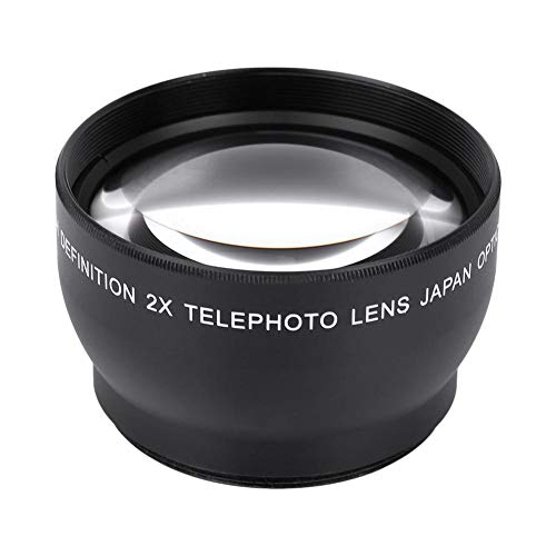 Yunir Lente de conversión de teleobjetivo HD de Aumento Profesional 2X Lente de aleación de Aluminio a Prueba de Aceite a Prueba de arañazos a Prueba de Agua para Rosca de Lente de 52 mm