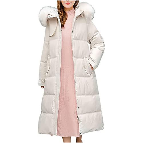 Chaqueta de plumón con capucha para mujer, chaqueta cortavientos, resistente al agua, con cuello de piel desmontable, chaqueta de invierno, monocolor, gruesa, cálida y a la moda, elegante, Blanco, M