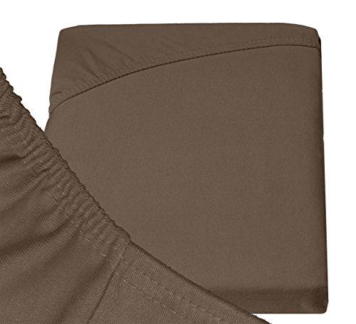 #25 Double Jersey Jersey Spannbettlaken, Spannbetttuch, Bettlaken, 160x200x30 cm, Mocca - 6