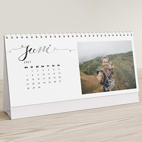 sendmoments Fotokalender 2021 mit Relieflack, Unsere Momente, Kalender für Digitale Fotos, Tischkalender zum Aufstellen mit persönlichen Bildern, Querformat 260x120,