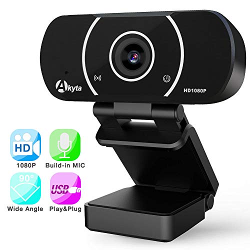 HD Webcam 1080p, Akyta Computer Web Camera with Microphone, USB PC Webcam with 90 Degree Wide Angle, Laptop Desktop Webcam for Skype YouTube Twitch OBS Streaming Video Conference