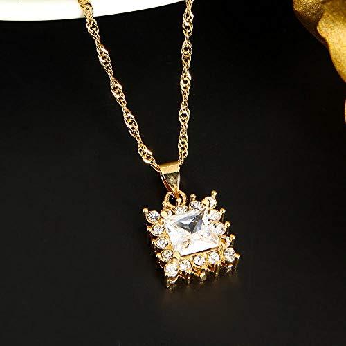 Collar con colgante de piedra de cristal geométrico dorado de moda etíope, joyería de diamantes de imitación, azul