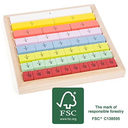 small foot 11166 Bruchrechnung Educate, aus FSC 100%-zertifiziertem Holz, Rechnen Lernen für Schulkinder und Rechen-Profis Spielzeug, mehrfarbig
