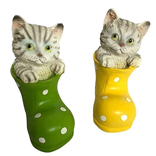 OF Gartenfiguren 2 süsse Katzen im Gummistiefel - Wetterfest - Deko Garten