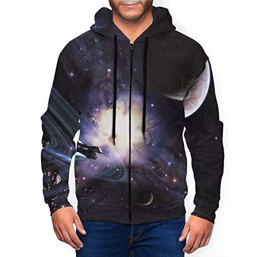 Sudadera con capucha para hombre Galaxy Planet con capucha 3d Impreso Chaqueta Cremallera Pullover Sudadera Camisa