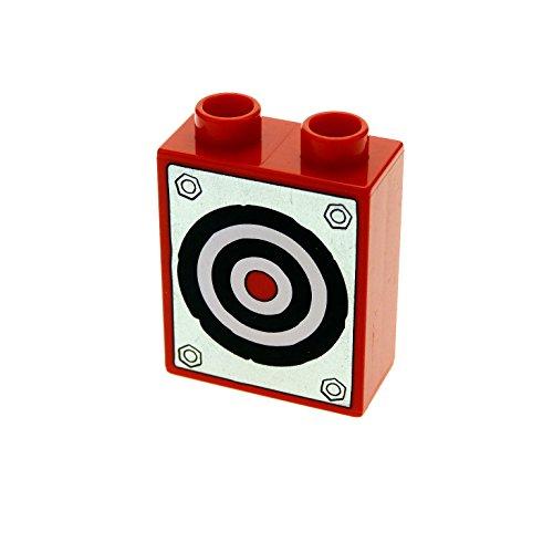1 x Lego Duplo Motivstein rot 1x2x2 bedruckt Zielscheibe Bild Bau Stein für Set Cars 5817 4066pb398