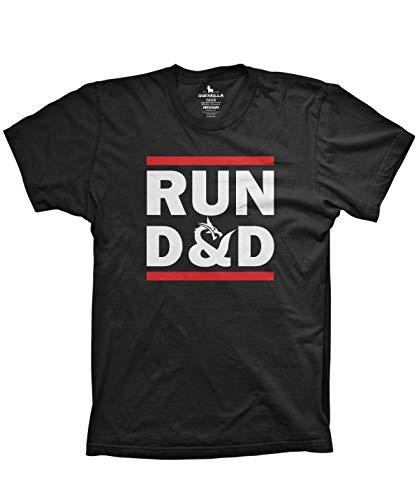 Guerrilla Tees Run D&D Shirt Funny Tshirts Board Game dice Shirt, Black, X-Large