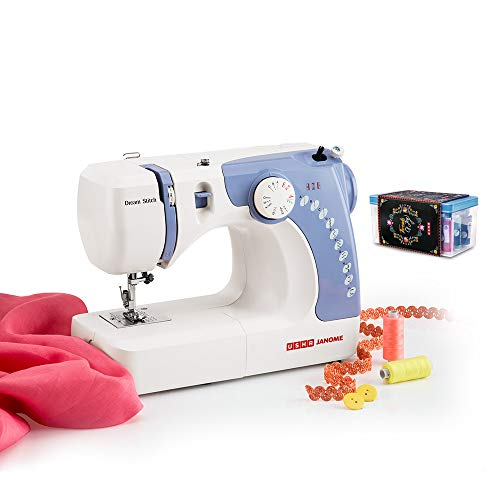Usha Janome Dream Stitch Automatic Zig-Zag Electric Sewing Machine (White and Blue) with Free Sewing KIT Worth RS 500