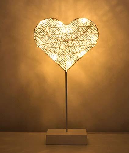 Lewondr Lámpara Decorativa de Mesa de Hierro 3D Tejida con Luz de Noche, Luces Led Funciona con Pilas, para Fiestas, Bodas, Decoración del Hogar, al Aire Libre Disposición Romántica - Corazón