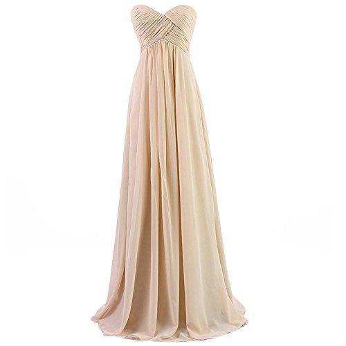 H.S.D Womens A Line Sweetheart Long Chiffon Bridesmaid Dress Champagne