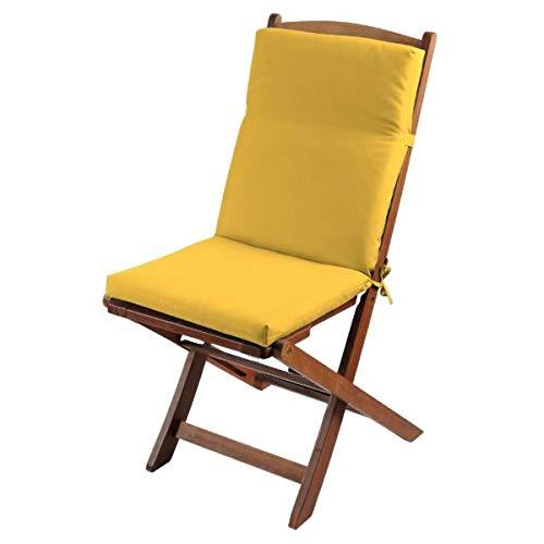 Cojín de silla exterior desenfundable, amarillo mostaza, 40 x 90 cm, 100 % poliéster, impermeable, con clip