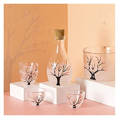 Botellas y juegos de sake Juego de sake japonés, regalo de la casa Jarra de vino en caja x 1 Copa de vino x 4 Cubos cálidos (hielo) x 1 Versión de flor de cerezo