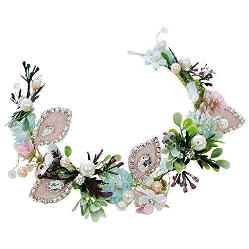 LYM Couronne de Fleurs Strass Couronne Chapeaux Festival du Mariage Catwalk Prom Bandeau Accessoires (Couleur : A)