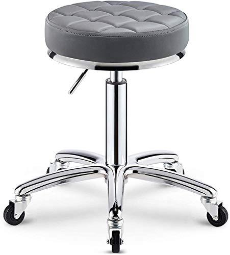 Taburete de barra de barra Ajustable con ruedas Silla de mesa giratoria suave para cocina, salón, balneario, tatuaje, silla de salón de salones de masaje pedicure silla esteticiana, gris (color: verde