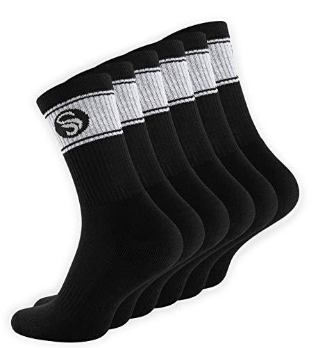 STARK SOUL 6 Paar Sportsocken im RETRO Design - Crew Socks in Bester Qualität, Tennissocken aus feinster Baumwolle, Schwarz 43-46