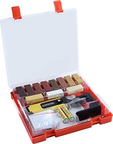 Werkzeyt Holz-Reparatur-Set 17teilig -11 unterschiedliche Farbtöne - Inkl. Wachsschmelzer, Hobel & Schleifschwamm - Geeignet für Holzoberflächen aller Art /Reparatur-Kit für Parkett & Laminat /B27691