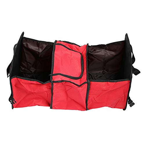 Trunk Storage Box, Large Capacity Foldable Trunk Organizer Holder Oxford Insulated Cooler Storage Box Mesh Bag Best for SUV Truck Auto