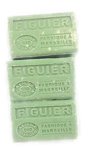Label Provence - Lot de 3 Savons de Marseille senteur Figuier à l'huile d'argan BIO - 125 gr x3 - Fabriqué à Marseille