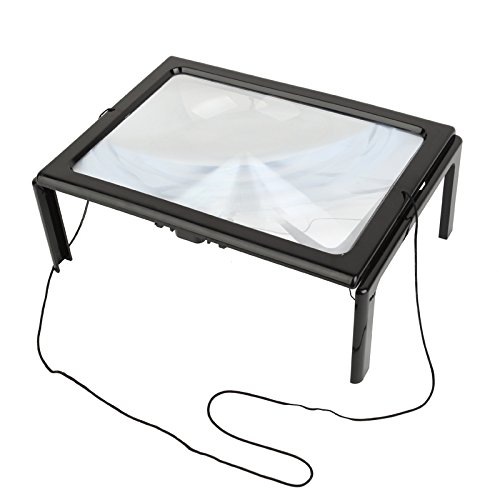 Home-organizer Tech Hands-Free Full Page LED Lights 3X Magnifier for Reading - Book Light Led page Magnifier Flip Out Legs Can Stand Over Document