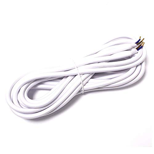 Cablematic - Cable eléctrico decorativo de tela 5m 2x0.75mm de color blanco