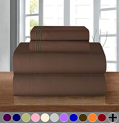 Elegant Comfort Luxury Soft 1500 Thread Count Egyptian Quality 3-Piece Sheet Wrinkle and Fade Resistant Bedding Set, Deep Pocket up to 16inch Twin/Twin XL Chocolate Brown