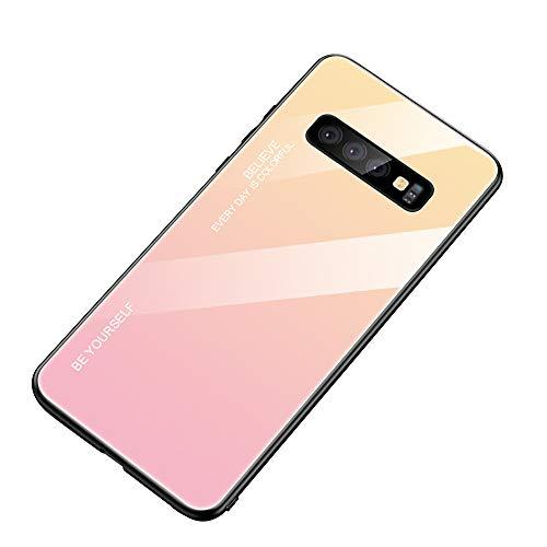 Alsoar - Funda ultrafina para teléfono móvil para Galaxy Note 8, funda protectora Gradient de cristal templado, marco de silicona suave, antigolpes, antiarañazos Galaxy Note 8 Giallo Rosa