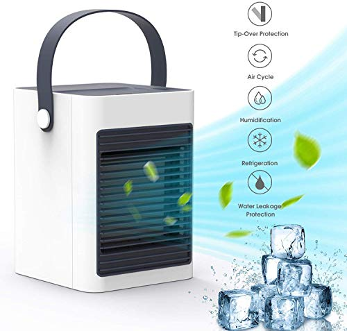 AUZKIN Portable Air Conditioner, Mini Fan Air Cooler Personal Use Evaporative Air Humidifier for Home Kitchen Office Nightstand
