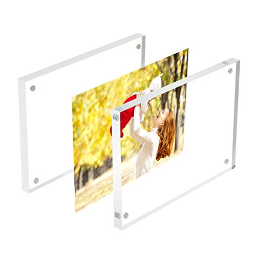 Sooyee 3 Pack 5X7 Acrylic Frames, Clear,Magnetic Photo Frame, Double Sided Frameless Standing in Desktop Picture Display(10 + 10MM Thickness)