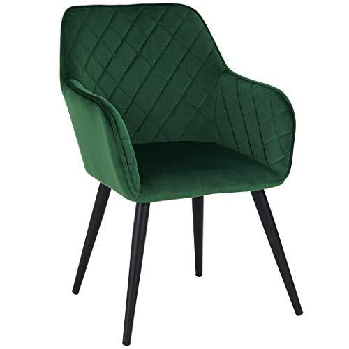 Duhome Esszimmerstuhl aus Stoff (Samt) Farbauswahl Retro Design Armlehnstuhl Stuhl mit Rückenlehne Sessel Metallbeine 8058, Farbe:Dunkel Grün, Material:Samt