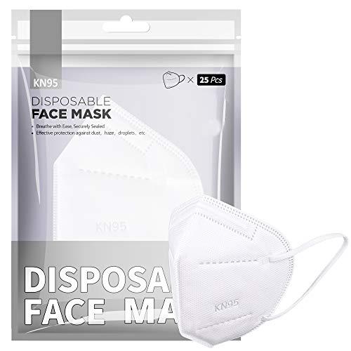 [20 PCS] FFP2 / KN95-Gesichtsmaske, 5-Lagen-Schutzmaske FFP2 CE-zertifiziert Hohe Filtrationskapazität Größe M / L Weiß