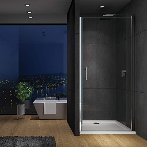IMPTS Duschkabine Duschtür Dusche Schwingtür Nische Pendeltür Rahmenlos Duschabtrennung 6mm ESG Glas,Ohne Duschwanne (70 X 195 CM)