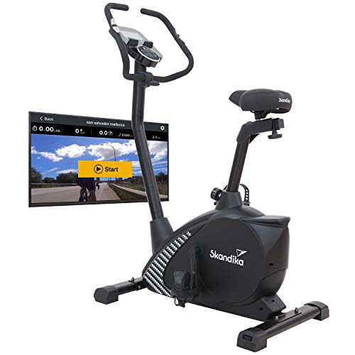 Skandika Ergometer Glede Design Hometrainer | Fitness Fahrrad mit Magnetbremssystem, 11kg Schwungmasse, 12 Trainingsprogramme, Tablet-Halterung, Bluetooth und App-Steuerung | schwarz