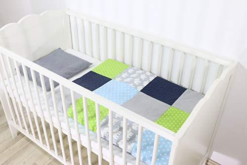 Conjunto de ropa de cuna de ULLENBOOM ® con elefantes azul verde (juego de 2 piezas para cuna: funda de almohada de 35x40 cm y funda nórdica de 80x80 cm)