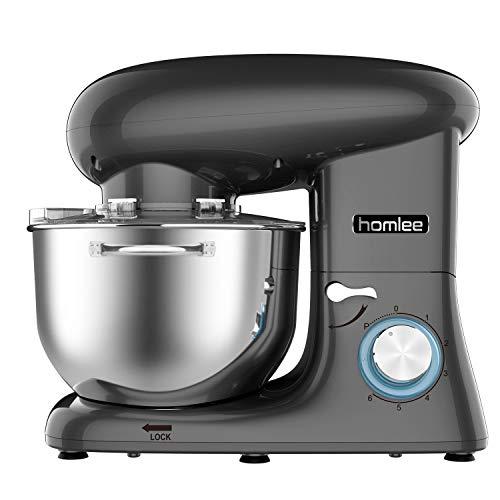 Homlee 1500W Batidora Amasadora Profesional, Robot de Cocina Multifuncional 6 Velocidades Amasadora de pan Mezclador electrico 5.5L