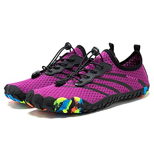 Zapatos Ligeros para el Agua de Secado RáPido para Hombres Zapatos Deportivos Atléticos para Caminar,Purple-39
