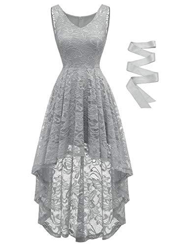 BeryLove Damen Spitzen Vokuhila Cocktailkleid V Ausschnitt Ärmellos Elegant Brautjungfernkleid Partykleid BLP7018GreyS