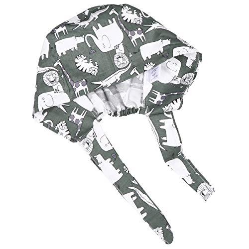 SOIMISS Bonita Chapéu de trabalho unissex de algodão estampado com elástico ajustável e tiras macias, Nh009, 28X14CM