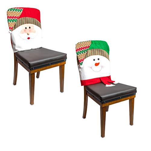 Fundas para silla de comedor de Navidad, Papá Noel y muñeco de nieve (2 piezas)