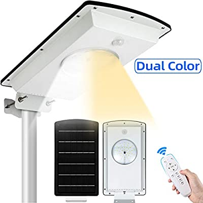 Solar Street Lights Outdoor SunBonar Waterproof IP65 Dusk to Dawn Solar Street Light with Remote Control/Motion Sensor, Integrated Cool White/Warm White Security Lights for Garden Court Driveway