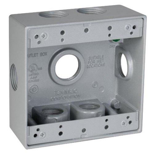 TayMac DB775XS 4-1/2-Inch X 4-1/2-Inch Gang 2-Inch Deep Weatherproof Box, 3/4-Inch Outlets, Side Lug, Gray