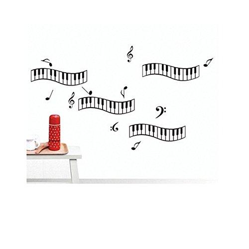 LifeUp Notes Personeel Vinyl Muurstickers Kunst Lettering Gitaar Muzikaal Instrument Rock Vinyl Muurstickers voor Kwekerij Kamer Muziekkamer Piano Note Keyboard