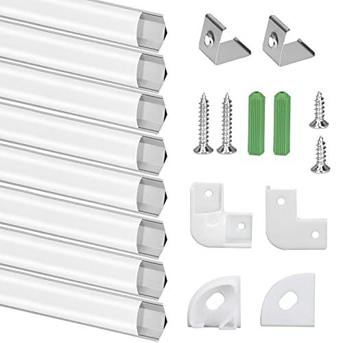 Perfil de Aluminio, 8 PCS x 1m Perfil Aluminio LED Forma de V, Canal de Aluminio para Tira de LED con Cubierta Blanca Lechosa, Conector de esquina, Los Casquillos de Extremo, los Clips de Montaje