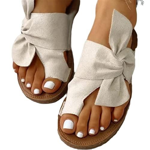 SONG Sandalias Informales con Nudo De Lazo Plano para Mujer, Zapatos Ortopédicos para Caminar a La Moda con Punta Abierta Zapatillas Antideslizantes De Verano,White-43