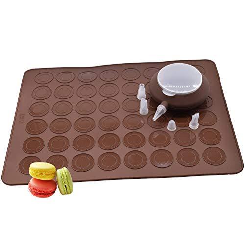 BESTOMZ Set per Macaron, Contiene Fino a 48 Macaron, Tappetino da Forno in Silicone(Marrone)