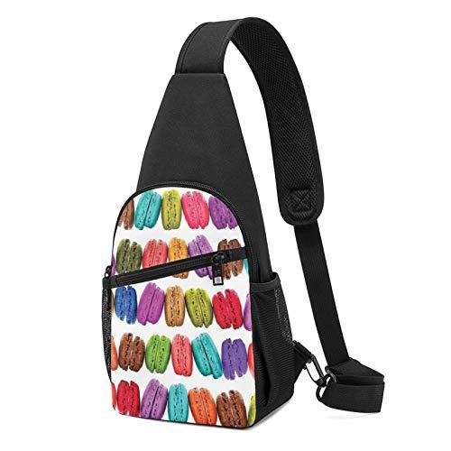 Rucksack mit Macaron-Keksgeschmack und Gebäck, bedruckt, leicht, Schulter-/Brust-Rucksack, Reise- und Wanderrucksack, Crossbody-Schultertasche, Schwarz - Schwarz - Größe: Einheitsgröße