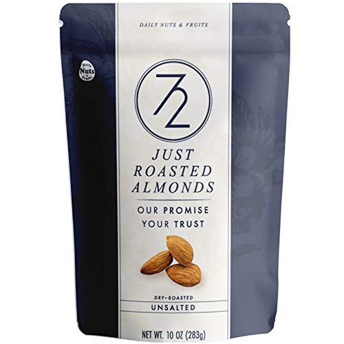 72 Just Roasted Almonds 2.5 LB! (10 OZ x 4 PACKS), un-salted, NON-GMO, Certified Gluten Free, Made Fresh